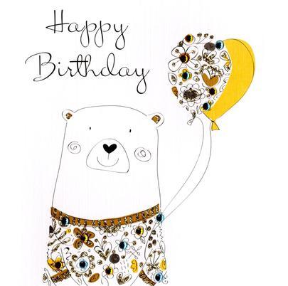 Cute Bear Embellished Happy Embellished Greeting Card