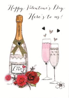 Here's To Us Embellished Joie De Vivre Valentine's Greeting Card