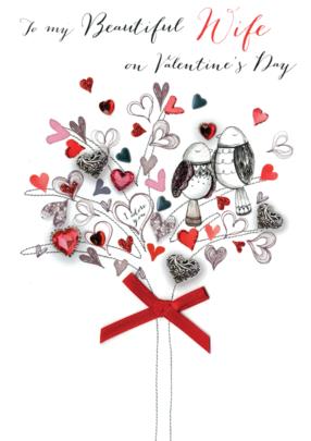Beautiful Wife Embellished Joie De Vivre Valentine's Greeting Card