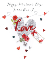 One I Love Embellished Joie De Vivre Valentine's Greeting Card