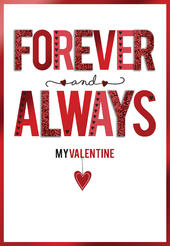 Forever & Always My Valentine Embellished Valentine's Day Greeting Card