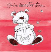 You're Sweeter Than Honey Scribble Bear Valentine's Greeting Card