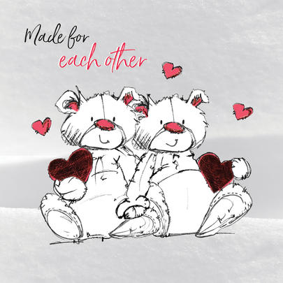 Made For Each Other Scribble Bear Valentine's Greeting Card