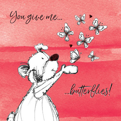 You Give Me Butterflies Scribble Bear Valentine's Greeting Card