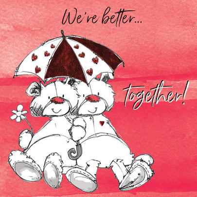 We're Better Together Scribble Bear Valentine's Greeting Card