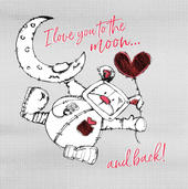 Love You To The Moon & Back Scribble Bear Valentine's Greeting Card