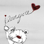 I Love You Scribble Bear Valentine's Greeting Card