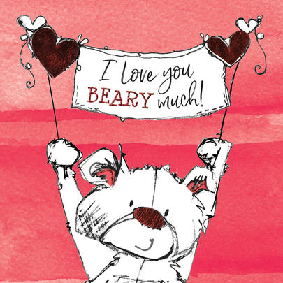 I Love You Beary Much Scribble Bear Valentine's Greeting Card