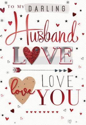 Darling Husband Embellished Magnifique Valentine's Greeting Card