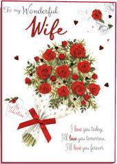 Boxed Wonderful Wife Embellished Valentine's Day Greeting Card