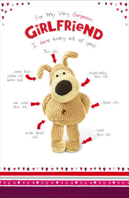 Boofle Girlfriend Valentine's Card I Love Every Bit Of You Greeting Card
