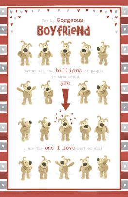 Boofle Boyfriend Valentine's Card I Love You Cute Greeting Card