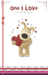 Boofle Valentine's Card For The One I Love Embellished Greeting Card