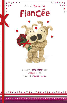 Boofle Valentine's Card For My Fiancee Embellished Greeting Card