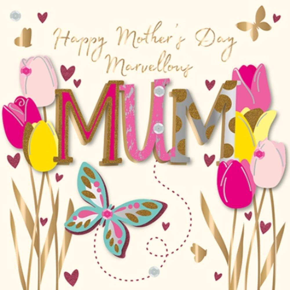 Happy Mother's Day Card Marvellous Mum Handmade Greeting By Talking Pictures