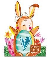 Pack of 4 Easter Cards Cute Mini Hoppy Easter Greeting Card Packs