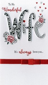 Wonderful Wife Valentine's Card Embellished Hand-Finished Card