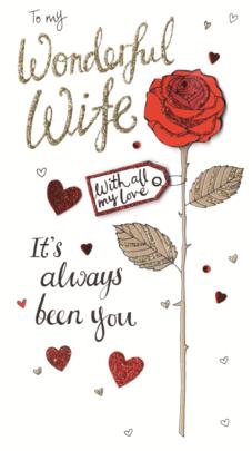 Wonderful Wife Valentine's Card Embellished Hand-Finished Card