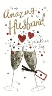 Amazing Husband Valentine's Card Embellished Hand-Finished Card