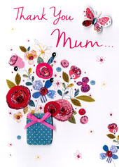 Thank You Mum Mother's Day Card Just To Say Embellished Hand-Finished Card