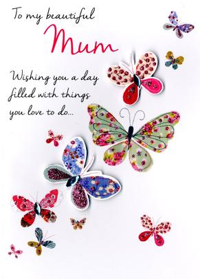 Beautiful Mum Mother's Day Card Embellished Hand-Finished Card