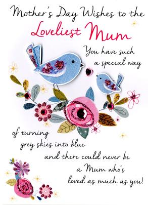 Loveliest Mum Mother's Day Card Just To Say Embellished Hand-Finished Card