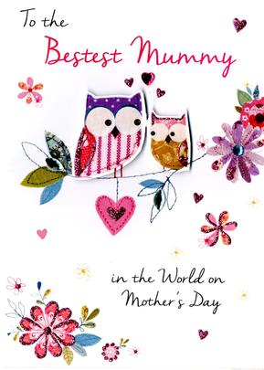 Bestest Mummy Mother's Day Card Just To Say Embellished Hand-Finished Card