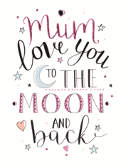 Mum Mother's Day Card Love You To The Moon & Back Embellished Hand-Finished Card