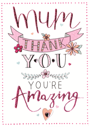 Thank You Mum Mother's Day Card Embellished Hand-Finished Card