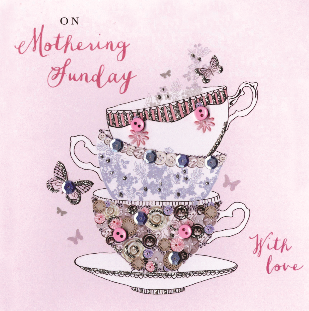 On Mothering Sunday Buttoned Up Mother's Day Greeting Card Embellished Hand-Finished Card