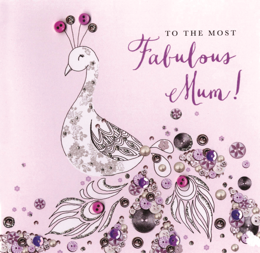 Fabulous Mum Mother's Day Card Buttoned Up Embellished Hand-Finished Card