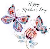 Happy Mother's Day Card Embellished Butterflies Hand-Finished Card