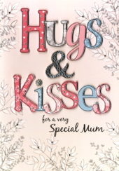 Hugs & Kisses Mum Mother's Day Card Embellished Hand-Finished Card