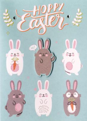 Hoppy Easter Greeting Card Embellished Hand-Finished Card