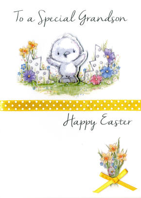 Grandson Easter Greeting Card Embellished Hand-Finished Card