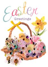 Easter Greetings Greeting Card Embellished Hand-Finished Card