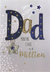Dad Father's Day Card You're One In A Million Embellished Hand-Finished Card