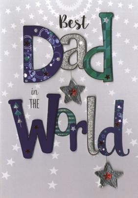 Father's Day Card Best Dad In The World Embellished Hand-Finished Card