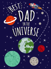 Father's Day Card Best Dad In The Universe Embellished Hand-Finished Card