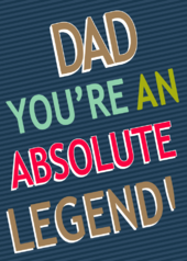 Father's Day Card Dad You're A Legend Embellished Hand-Finished Card
