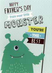 Father's Day Card From Your Monster Son Embellished Hand-Finished Card