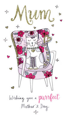 Mother's Day Card Purrfect Mum Embellished Champagne Range