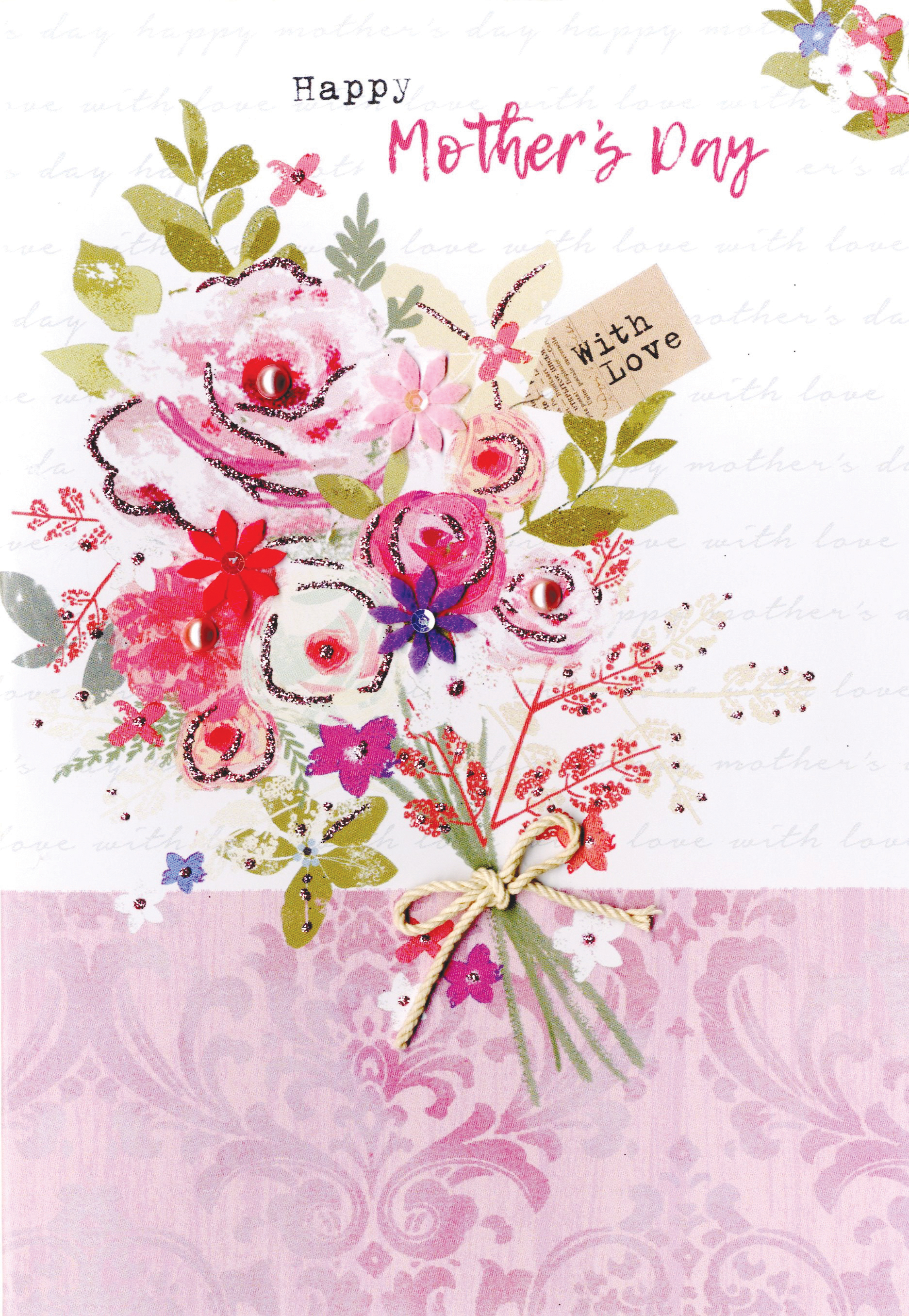 happy mother's day card with love embellished bouquet  cards