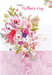 Happy Mother's Day Card With Love Embellished Bouquet