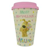 Boofle Mum Bamboo Travel Mug With Silicone Lid & Band