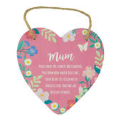 Mum Heart Shaped Hanging Wooden Plaque With String
