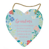 Grandma Heart Shaped Hanging Wooden Plaque With String