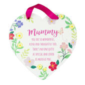 Mummy Heart Shaped Hanging Ceramic Plaque With Ribbon