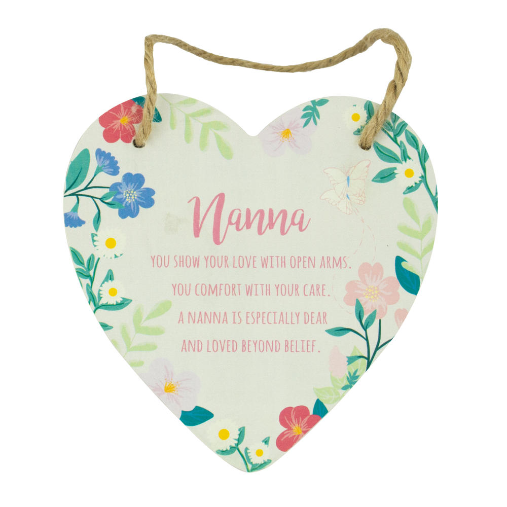 Nanna Heart Shaped Hanging Wooden Plaque With String