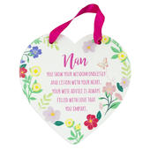 Nan Heart Shaped Hanging Ceramic Plaque With Ribbon